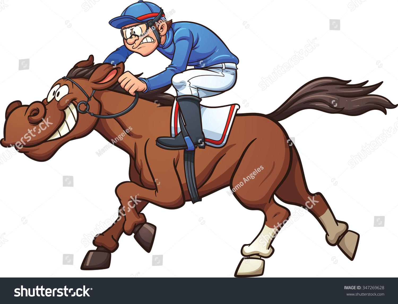 Cartoon Race Horse Vector Clip Art Stock Vector 347269628