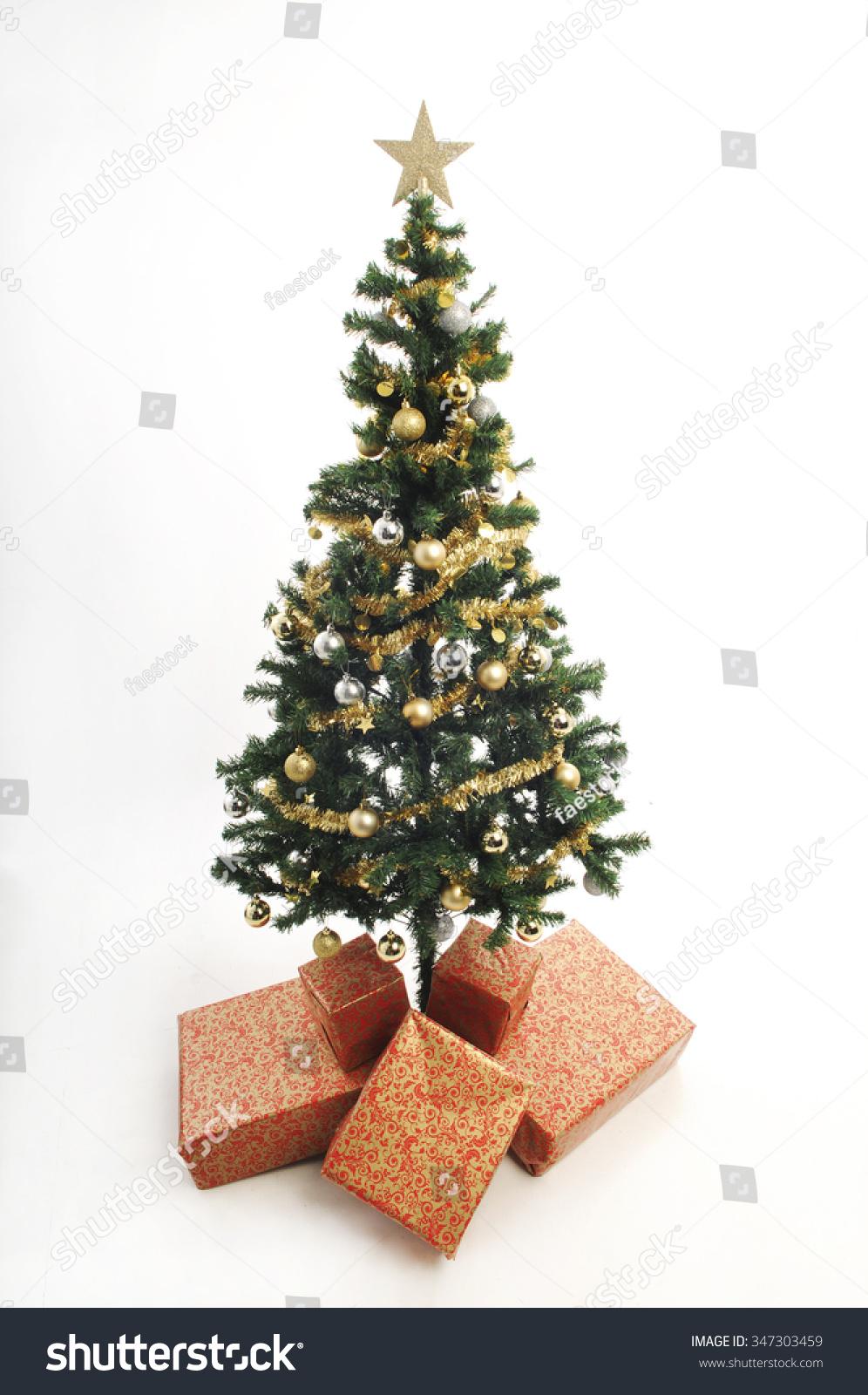 Full length plastic christmas tree simply stock photo