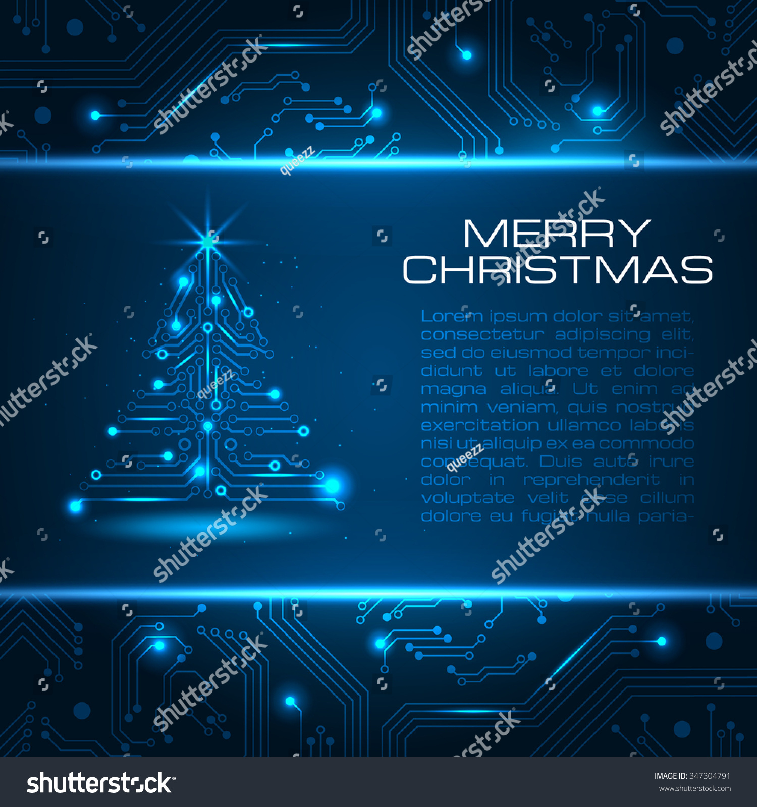 technology christmas tree new year background with space for your greetings vector illustration