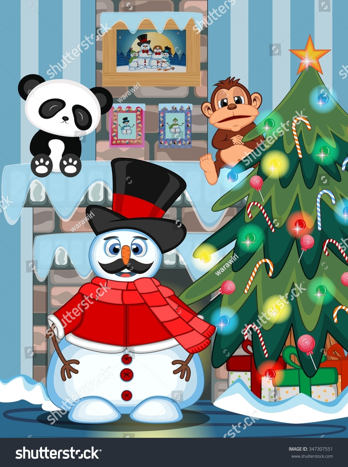 Snowman Mustache Wearing Hat Red Sweater Stock Illustration ...