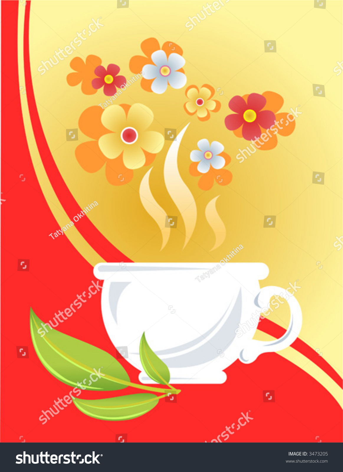 Larger preview vector clip art of a happy yellow coffee cup character - White Cup Tea Leaves And Flowers On A Yellow Red Background
