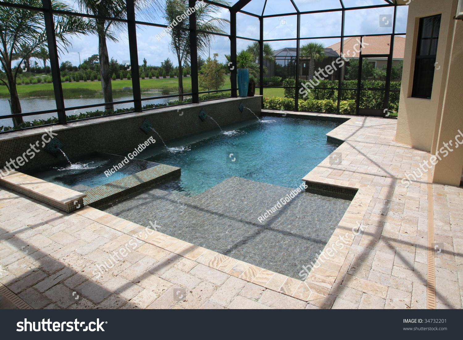 Screened In Outdoor Luxury Swimming Pool Stock