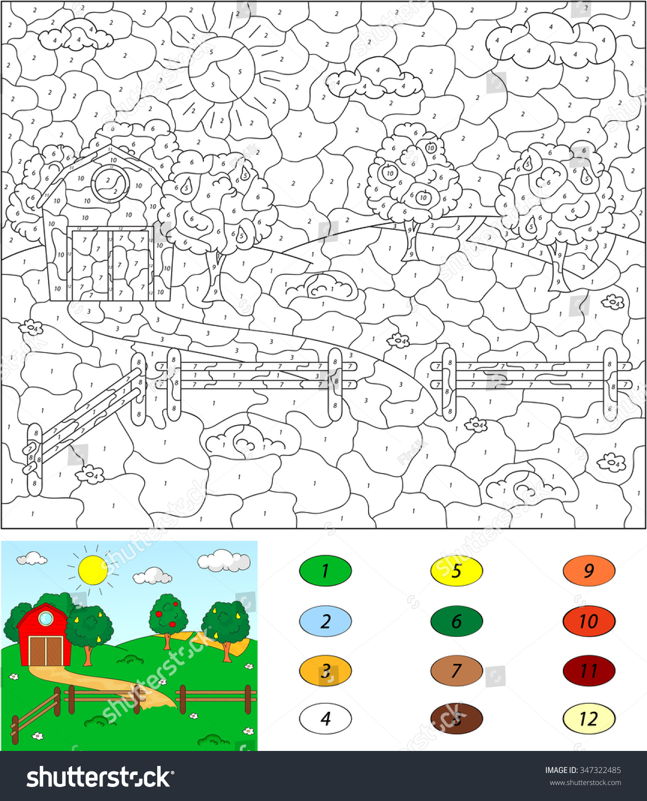 Game color by numbers - Color By Number Educational Game For Kids Rural Landscape With Barn Corrals Fruit