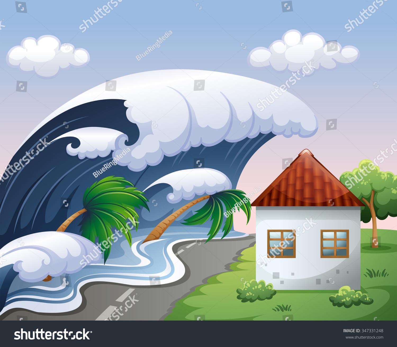 tsunami big waves over house illustration stock vector ocean wave clip art black white ocean wave clip art color