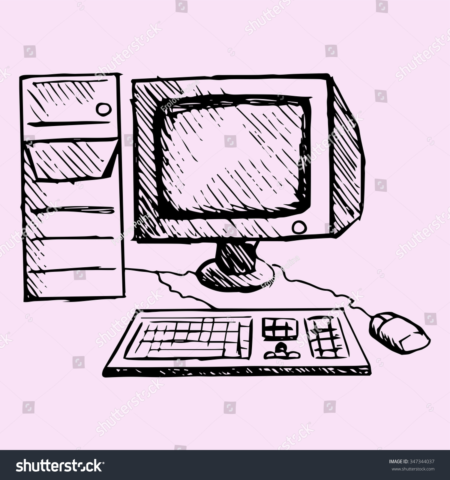 Retro Desktop Computer Monitor Keyboard Mouse Stock Illustration