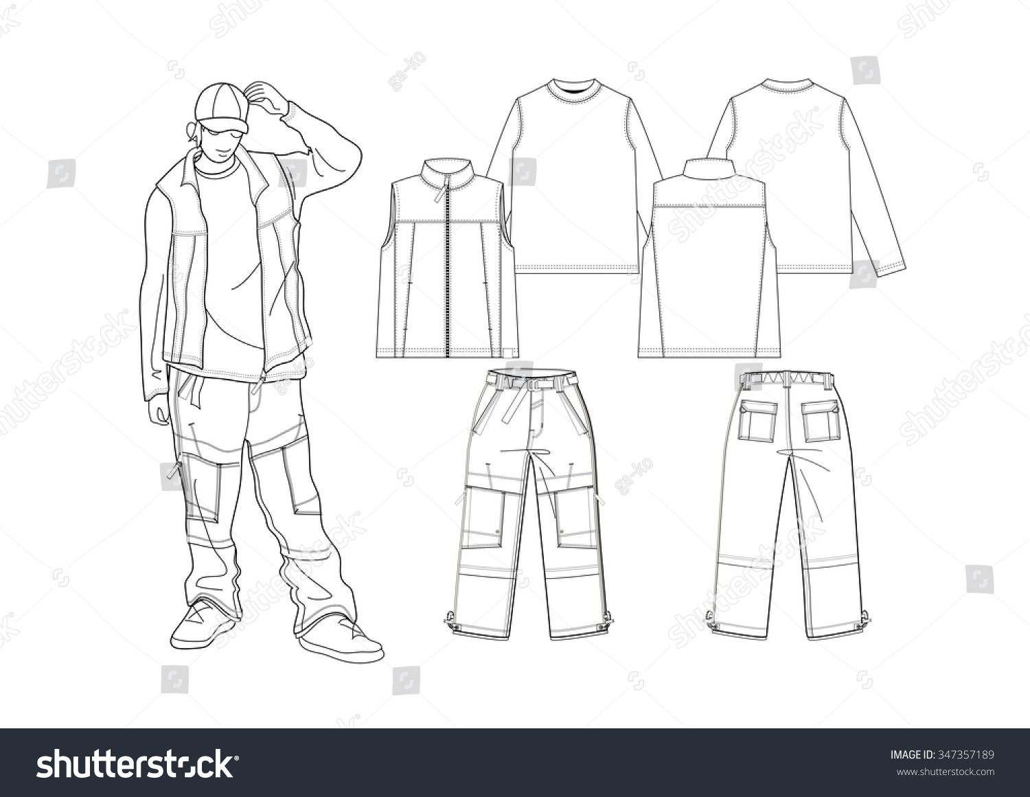 T Shirt Design Line Art : Fashion sketch tshirt pants design stock photo vector