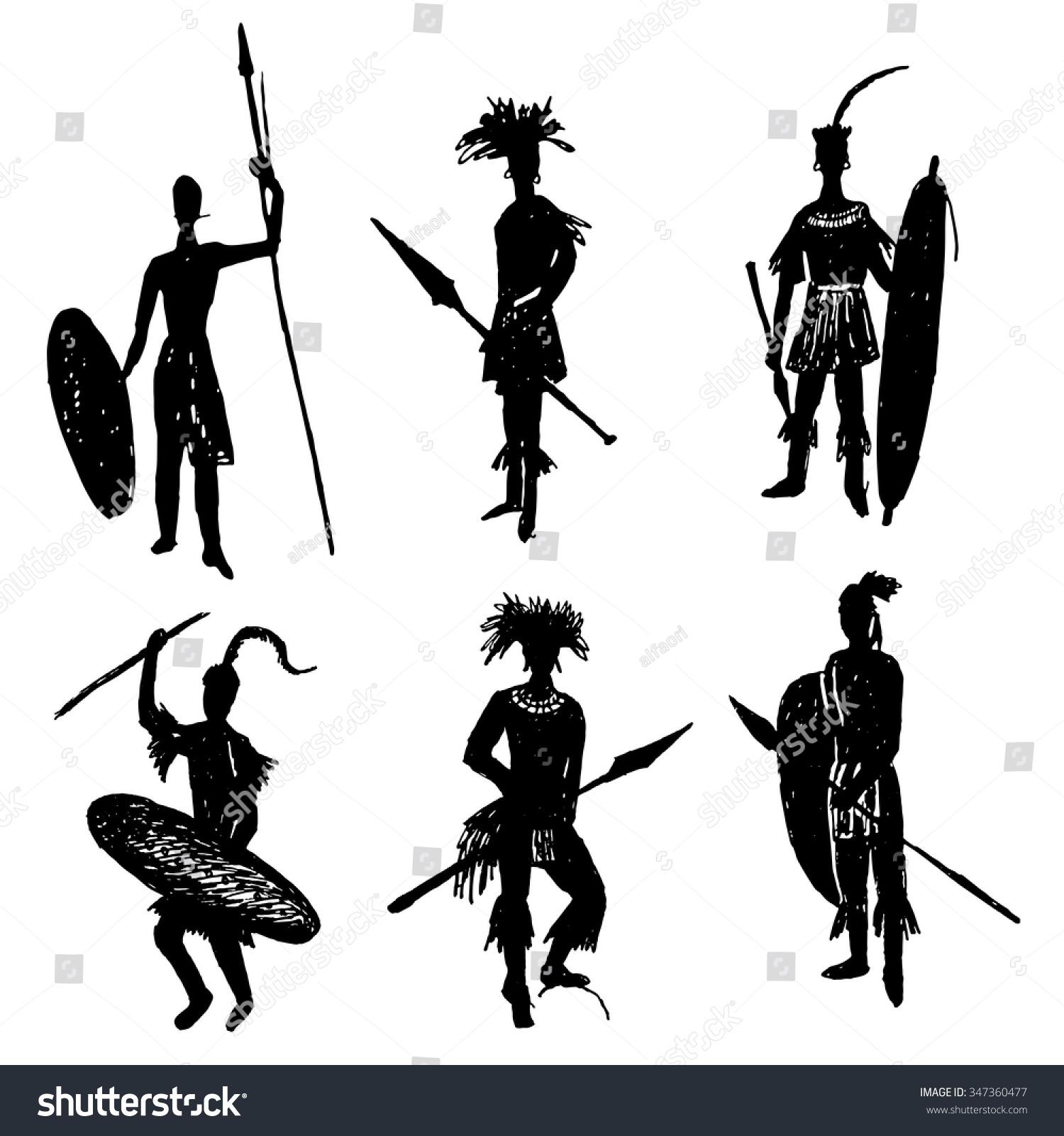 African Tribal Warriors Battle Suit Arms Stock Vector