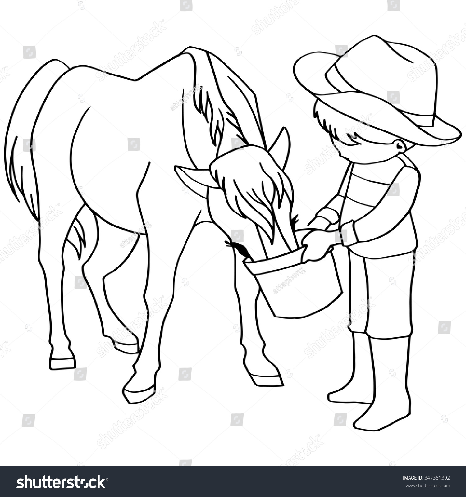 Coloring Book Child Feeding Horse Vector Stock Vector 347361392 ...