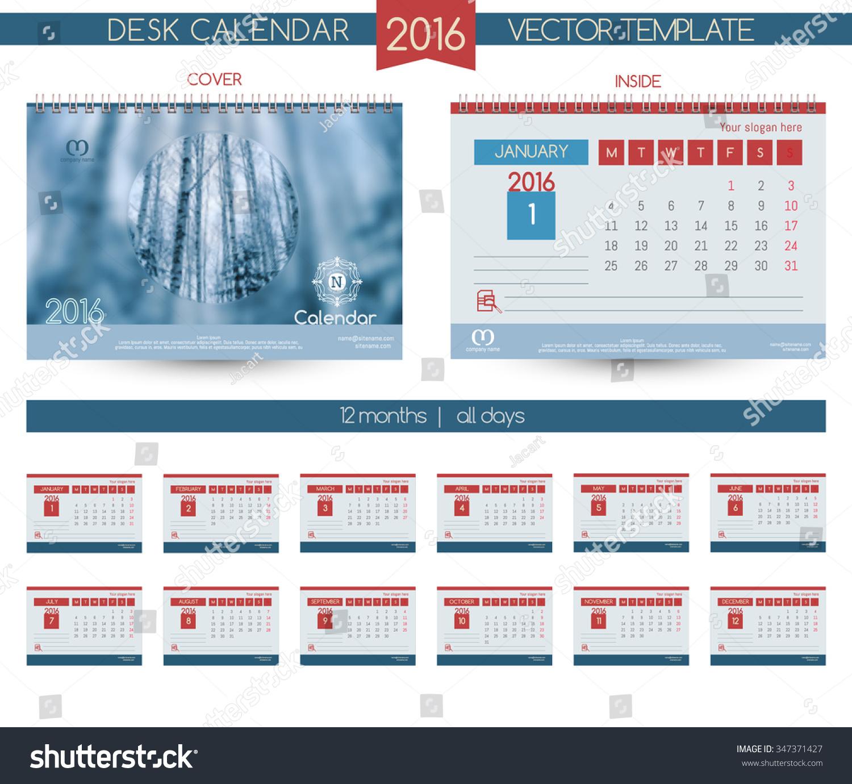 Hotel Calendar Design : Winter landscape design desk calendar stock vector