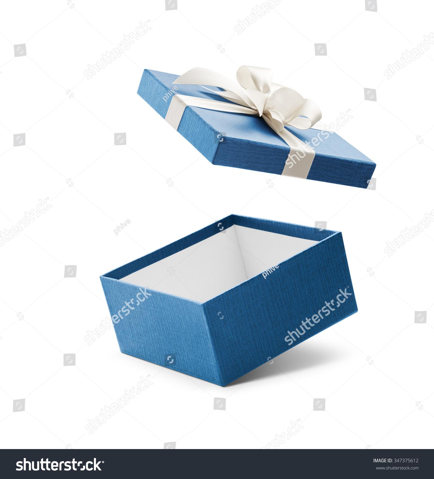 Blue open gift box white bow stock photo
