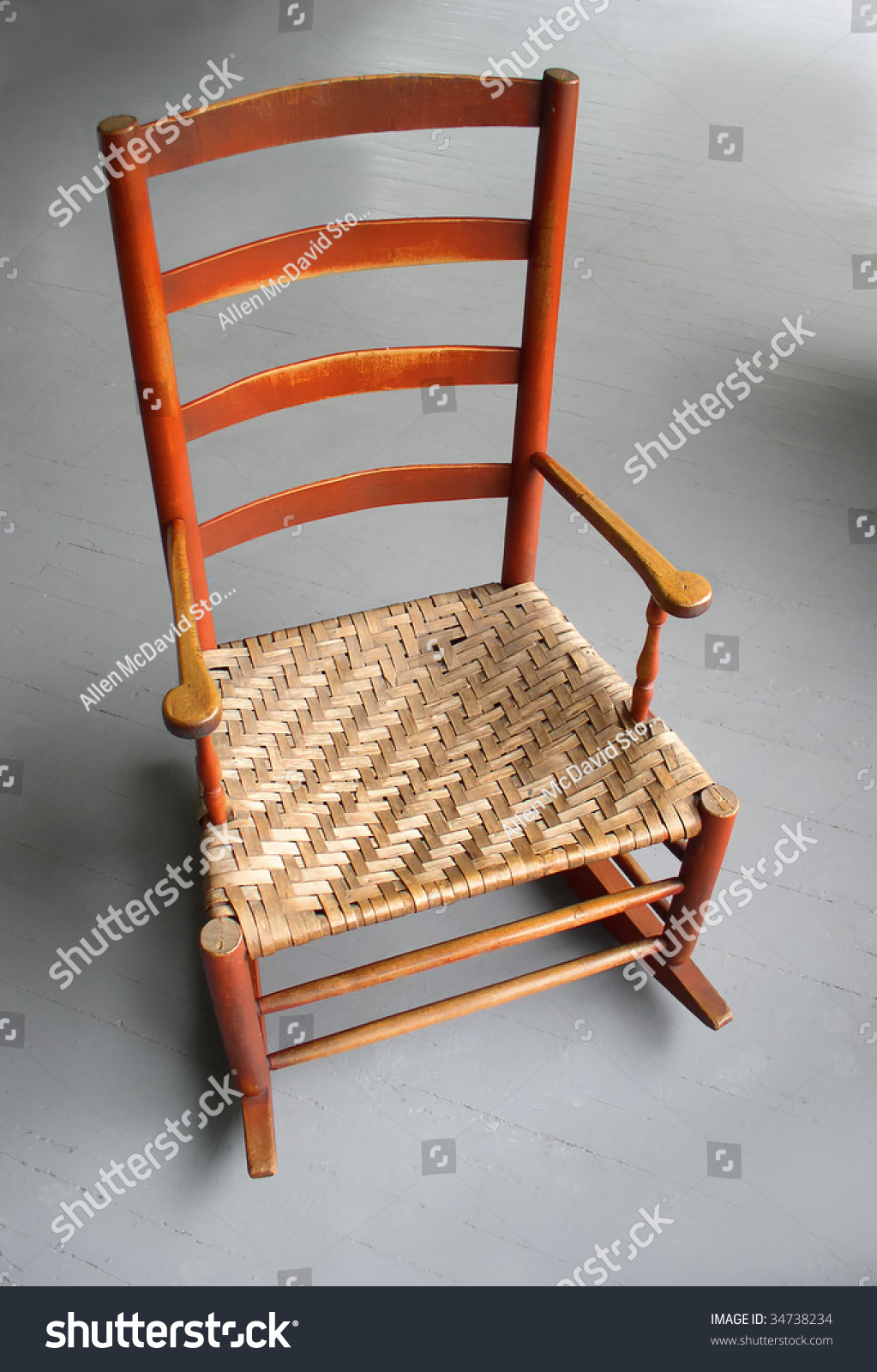 Antique shaker chairs - Rocking Chair Antique Shaker Style Rocker With Woven Cane Seat Photographed Against Gray Porch