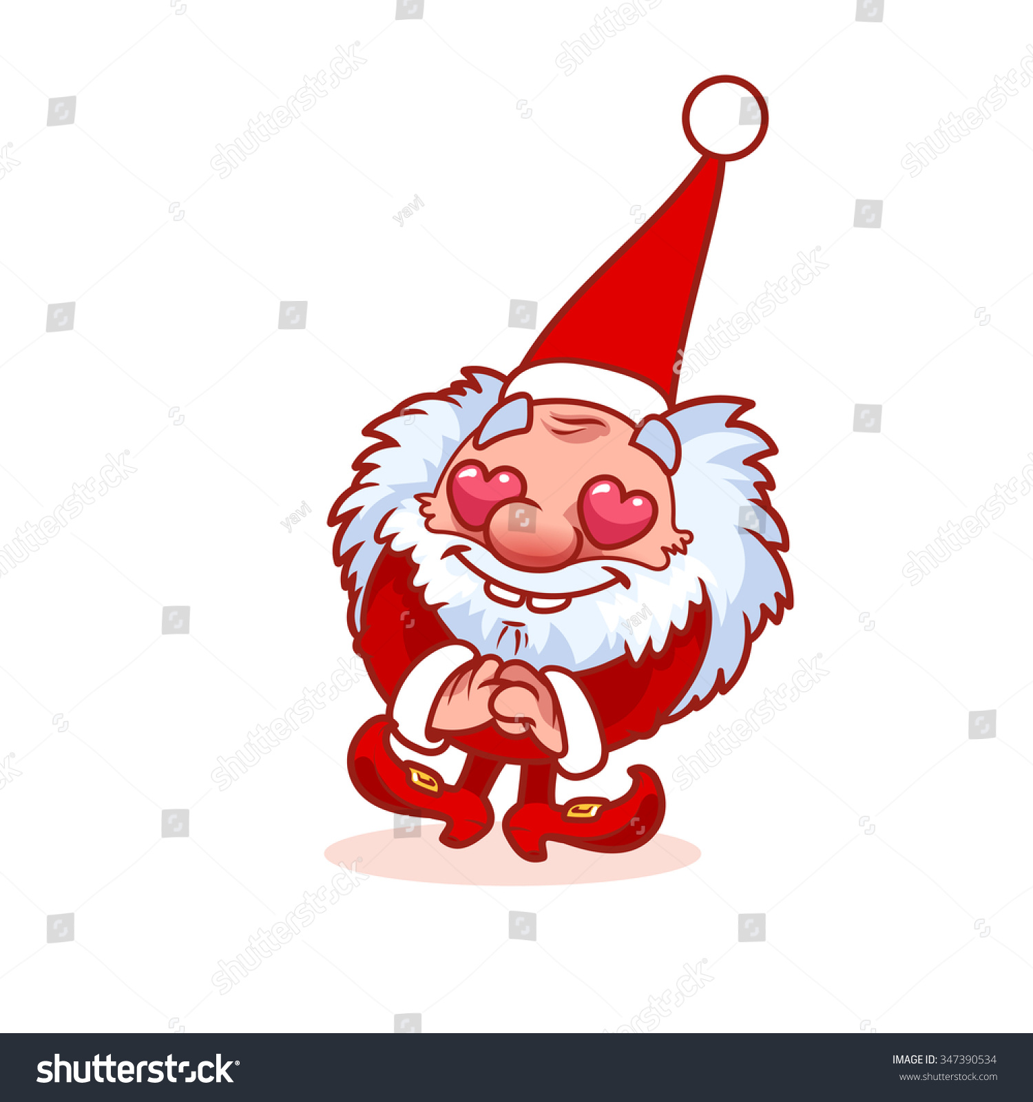 Enamored christmas gnome red costume hearts stock vector
