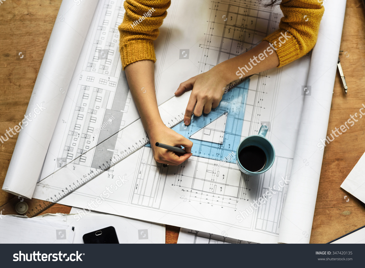 top view architect drawing on architectural stock photo 347420135