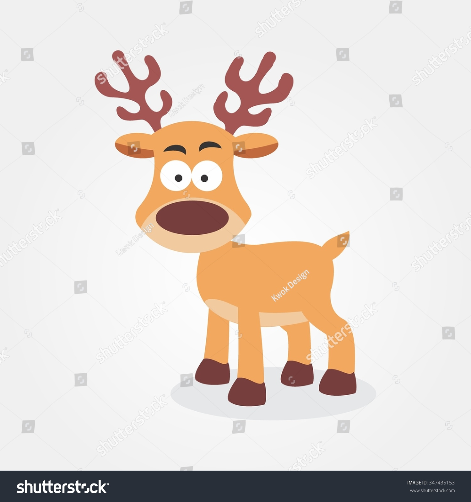 cute reindeer cartoon christmas new year stock vector 347435153