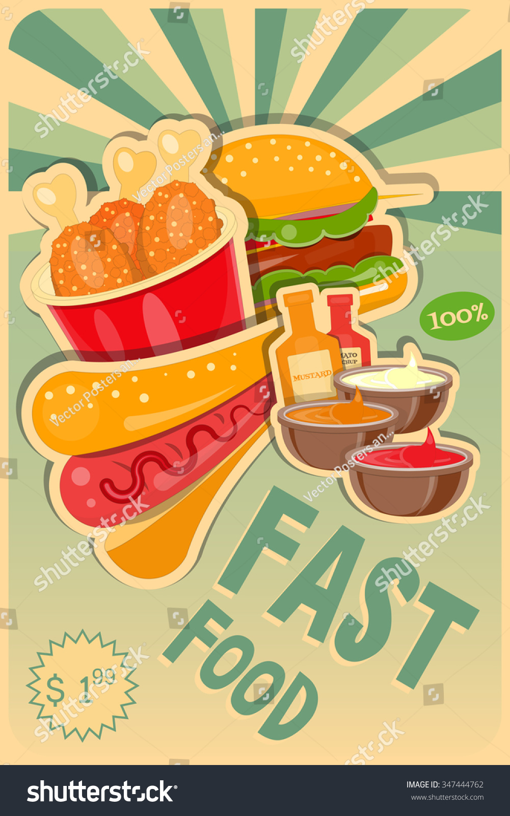 Fast Food Poster - Burgers, Hot Dog And Chicken ...
