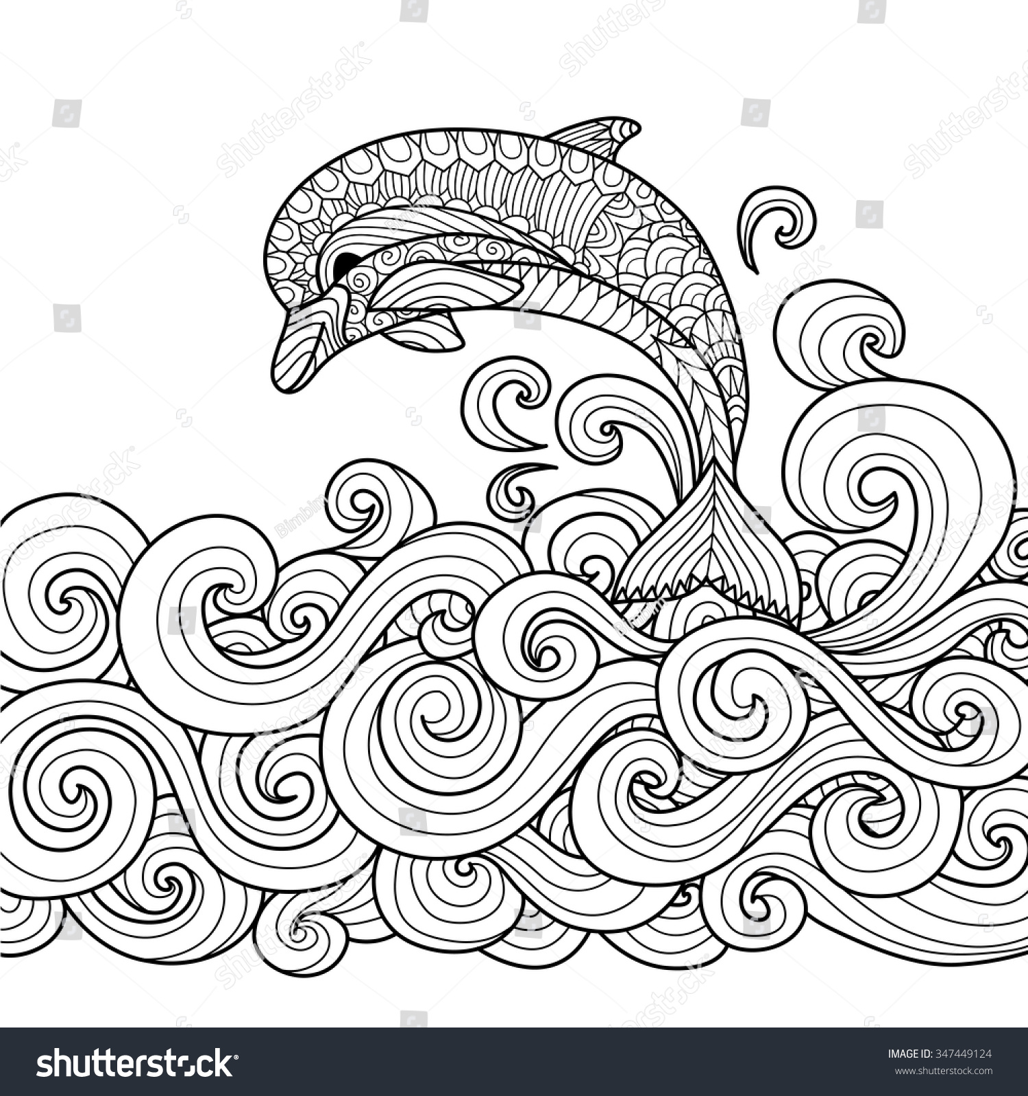 water animals clipart black and white