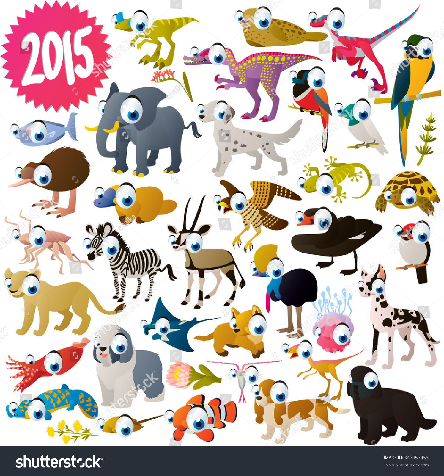 vector isolated cute cartoon funny collection stock vector