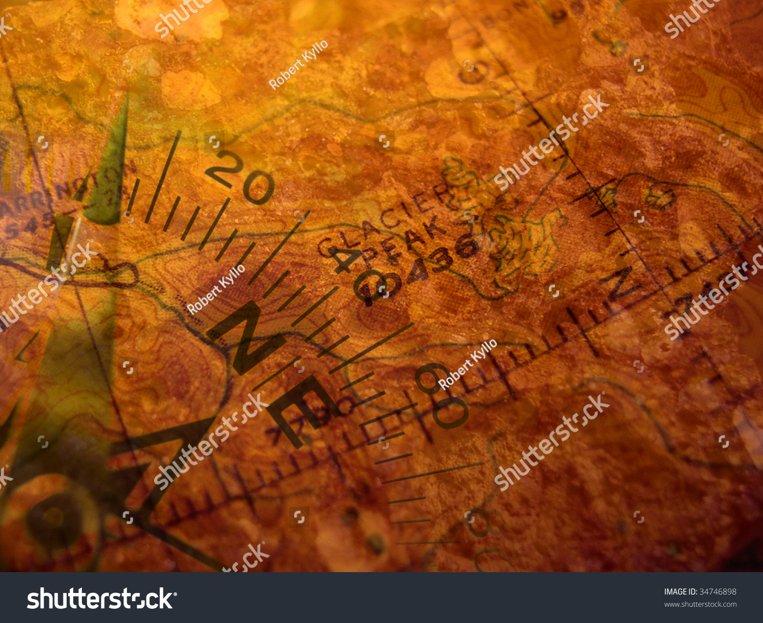 Compass Superimposed On Antique Map Base Stock Photo - Antiques us maps with compass