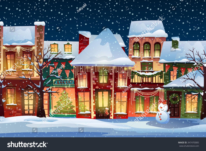 Town Landscape Vector Illustration: Winter Landscapechristmas Background Fairy Tale Houses