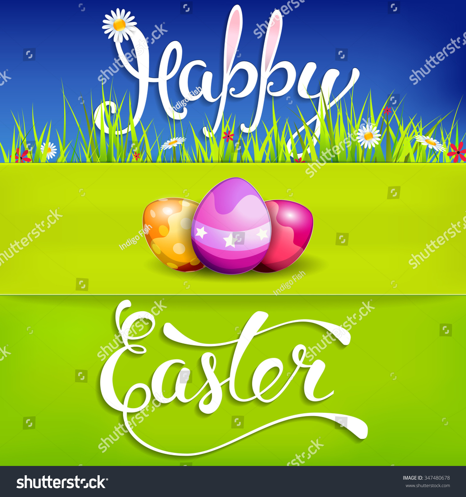 Easter Greeting Card Easter Eggs Handwritten Stock Vector 347480678