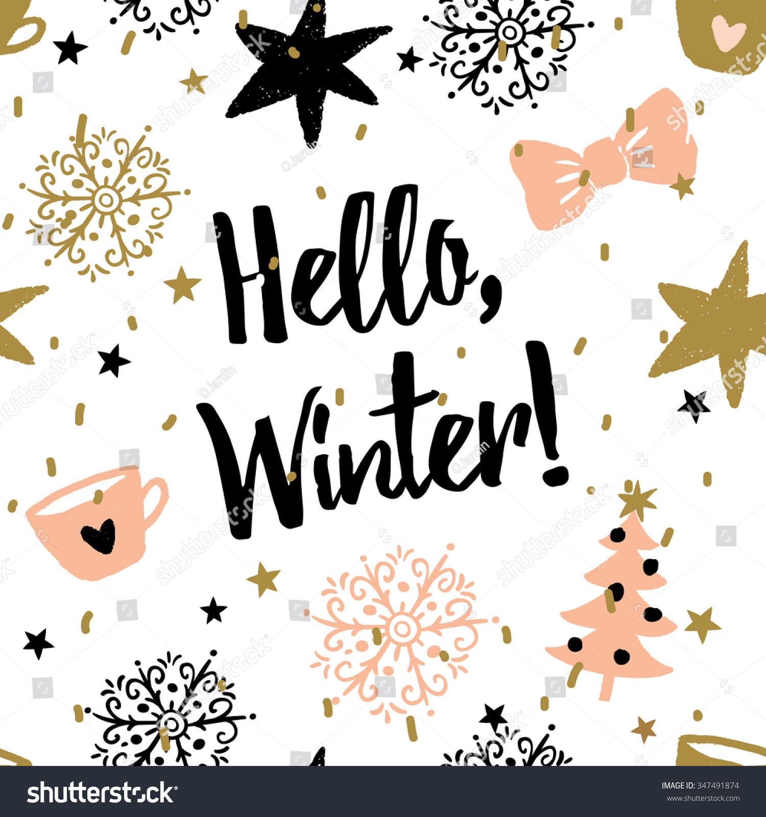 Golden tree wallpaper desktop wallpaper - Christmas Illustration With Message Hello Winter Vector