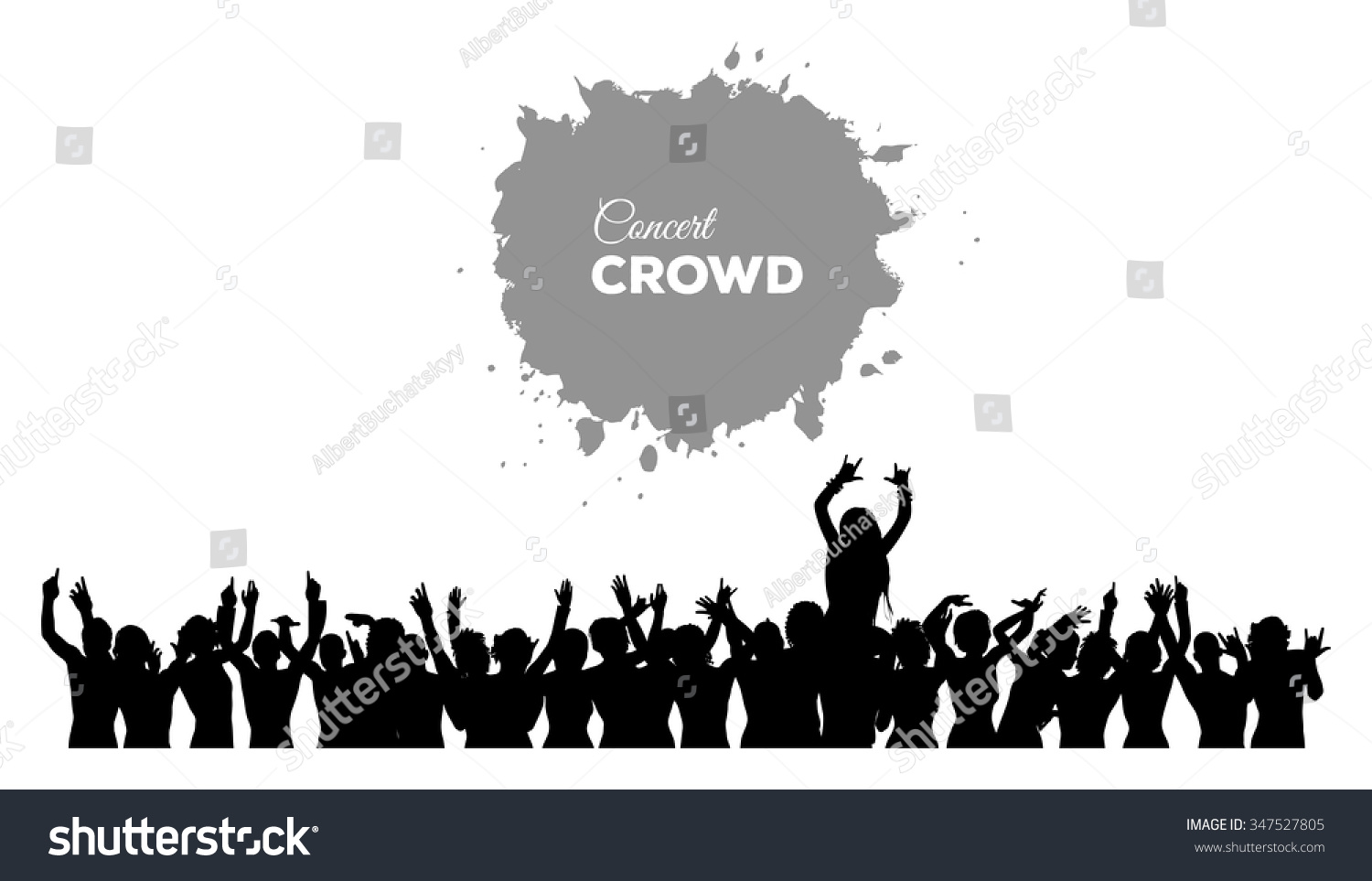 A cheering and dancing crowd of people at concert disco club