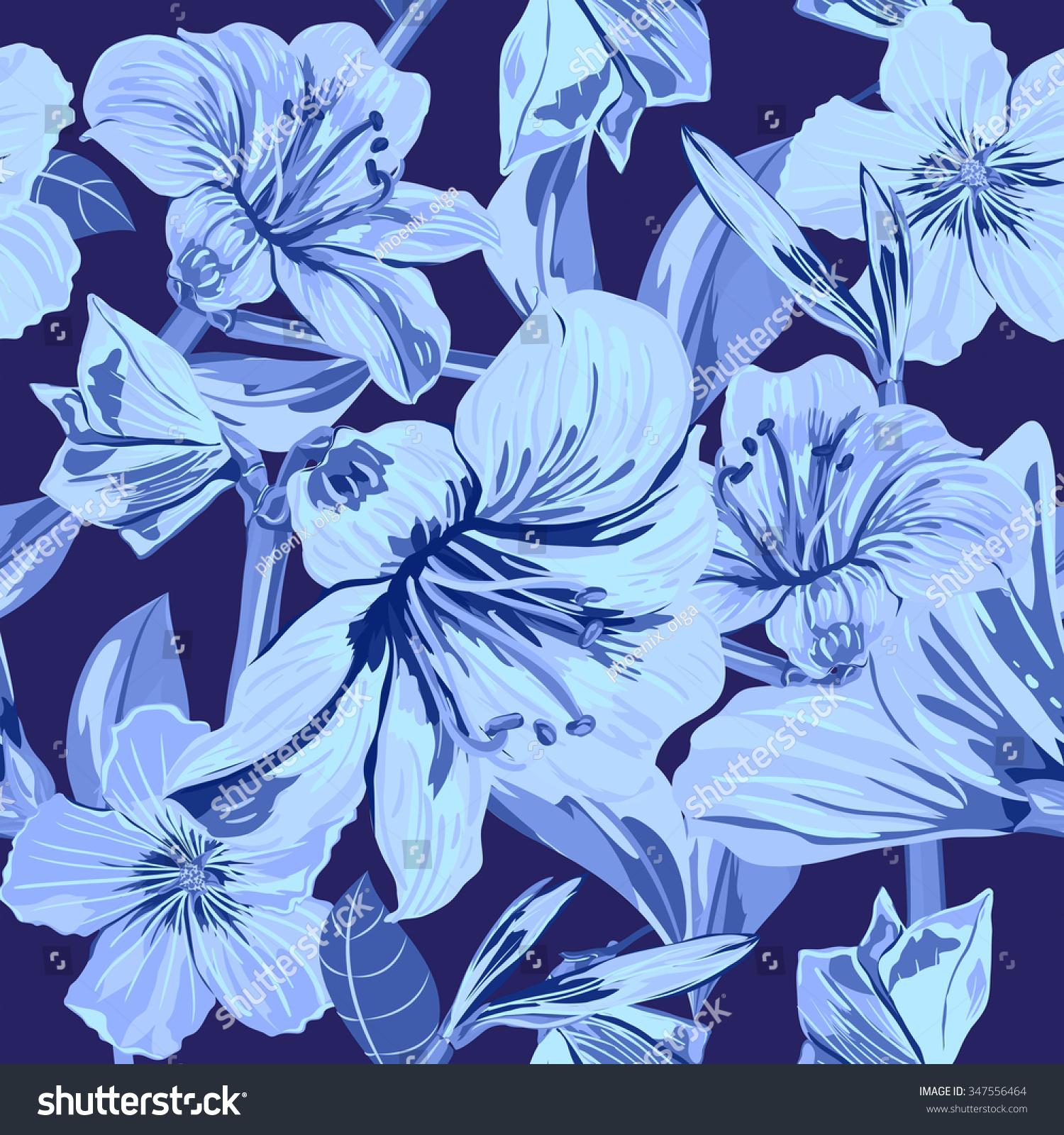 Vector Seamless Flower Pattern Flower Pattern With Blue Flowers