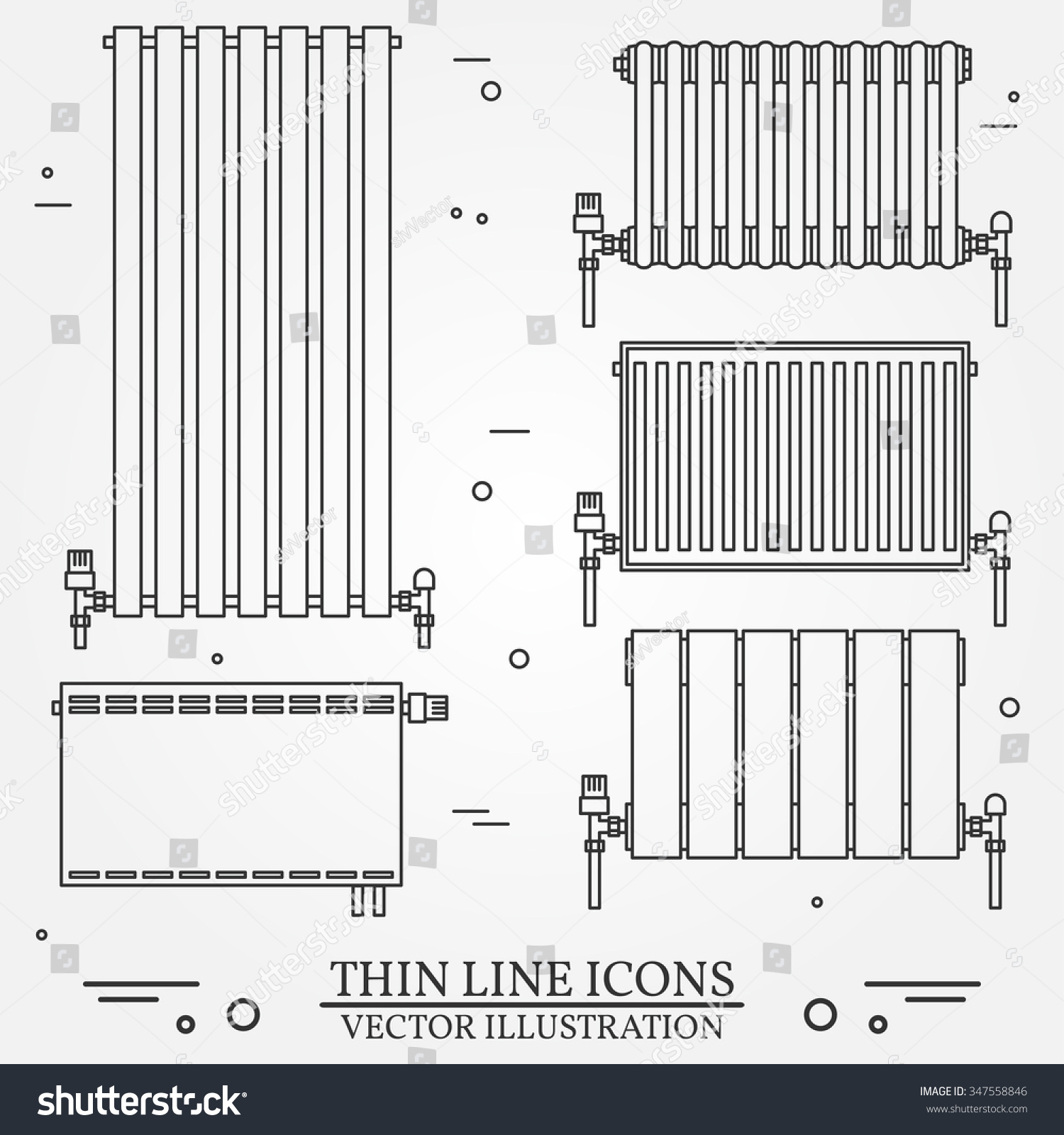 entral Heating adiators Icons hin Line Stock Vector 347558846 ... - ^