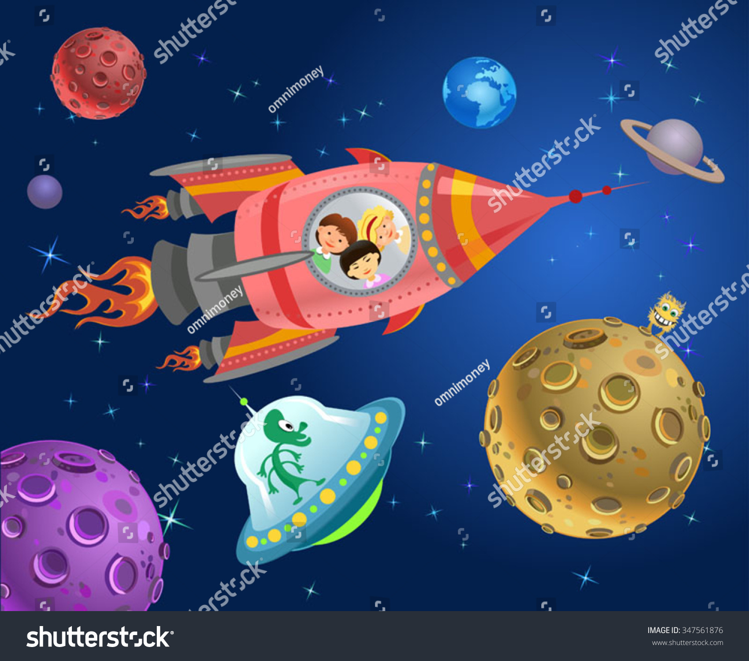 astronaut kids on rocket space expedition stock vector 347561876
