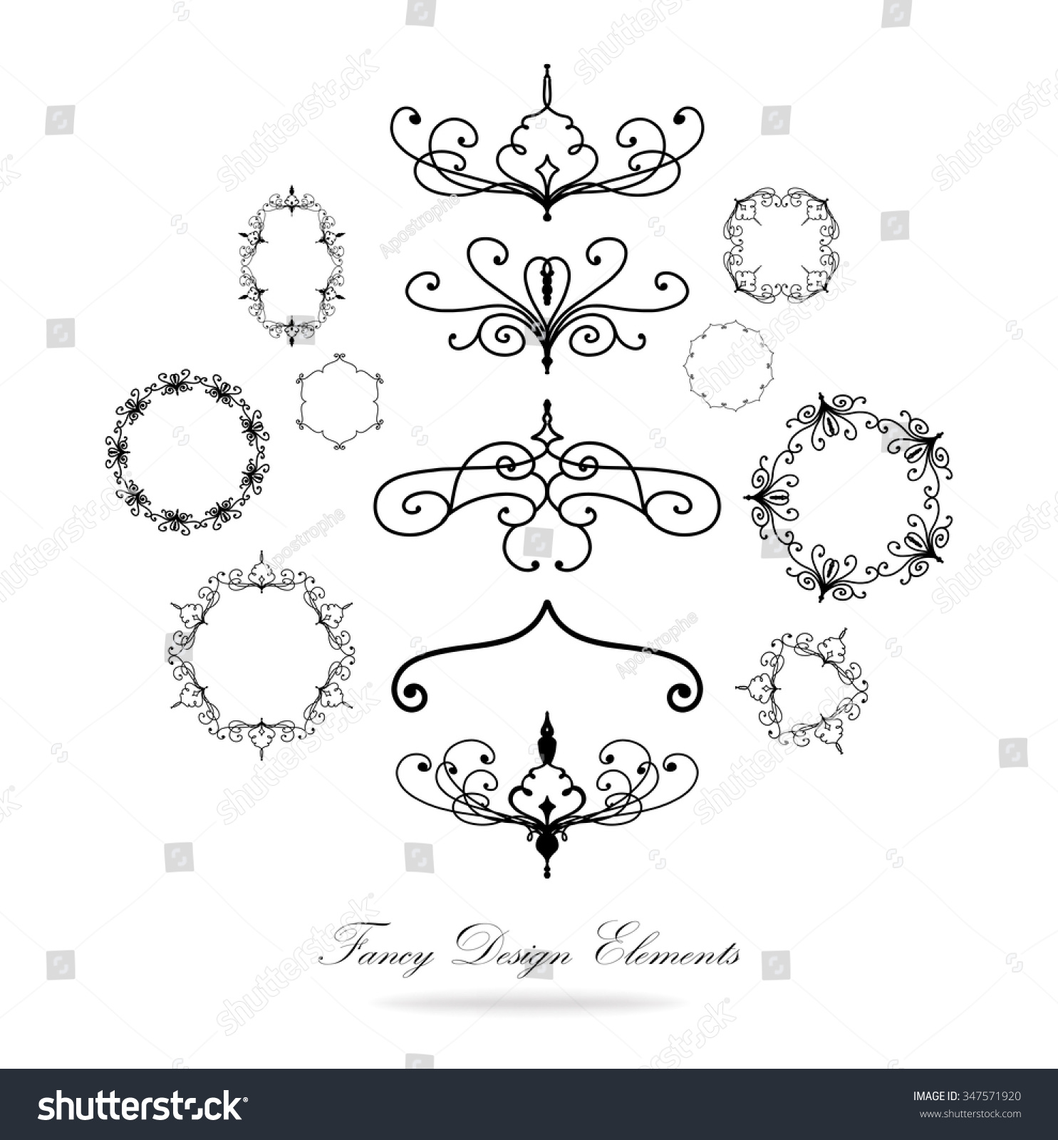 Victorian Design Elements design elements vector black white borders stock vector 347571920