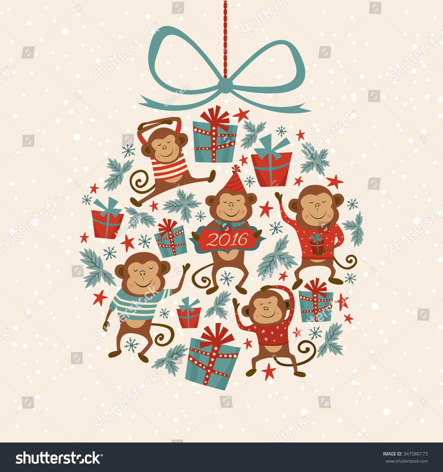 Vector Illustration Shape Christmas Tree Toy Stock Vector Royalty