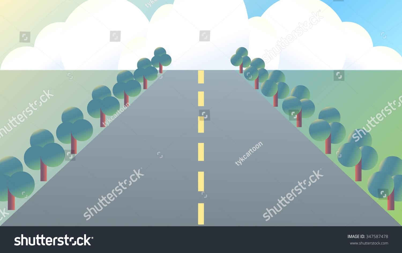 Cartoon Drawing Highway Outdoor Nature Landscape Stock Vector HD ...