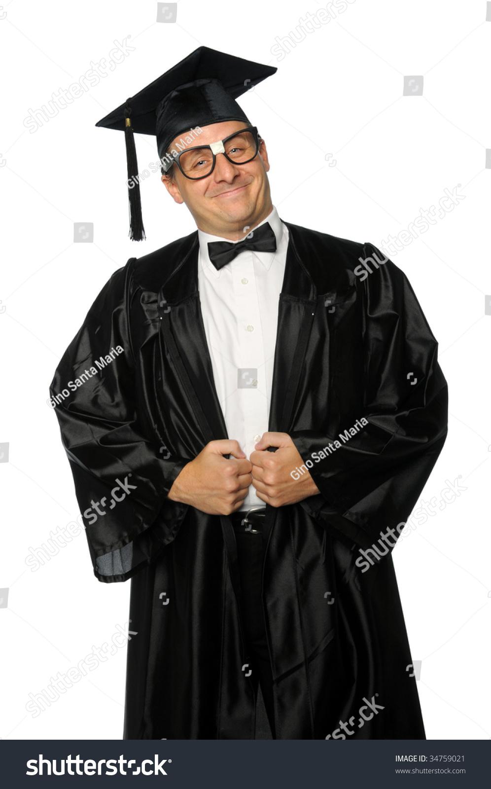 Nerd Graduate Dressed Gown Mortarboard Stock Photo (Edit Now ...