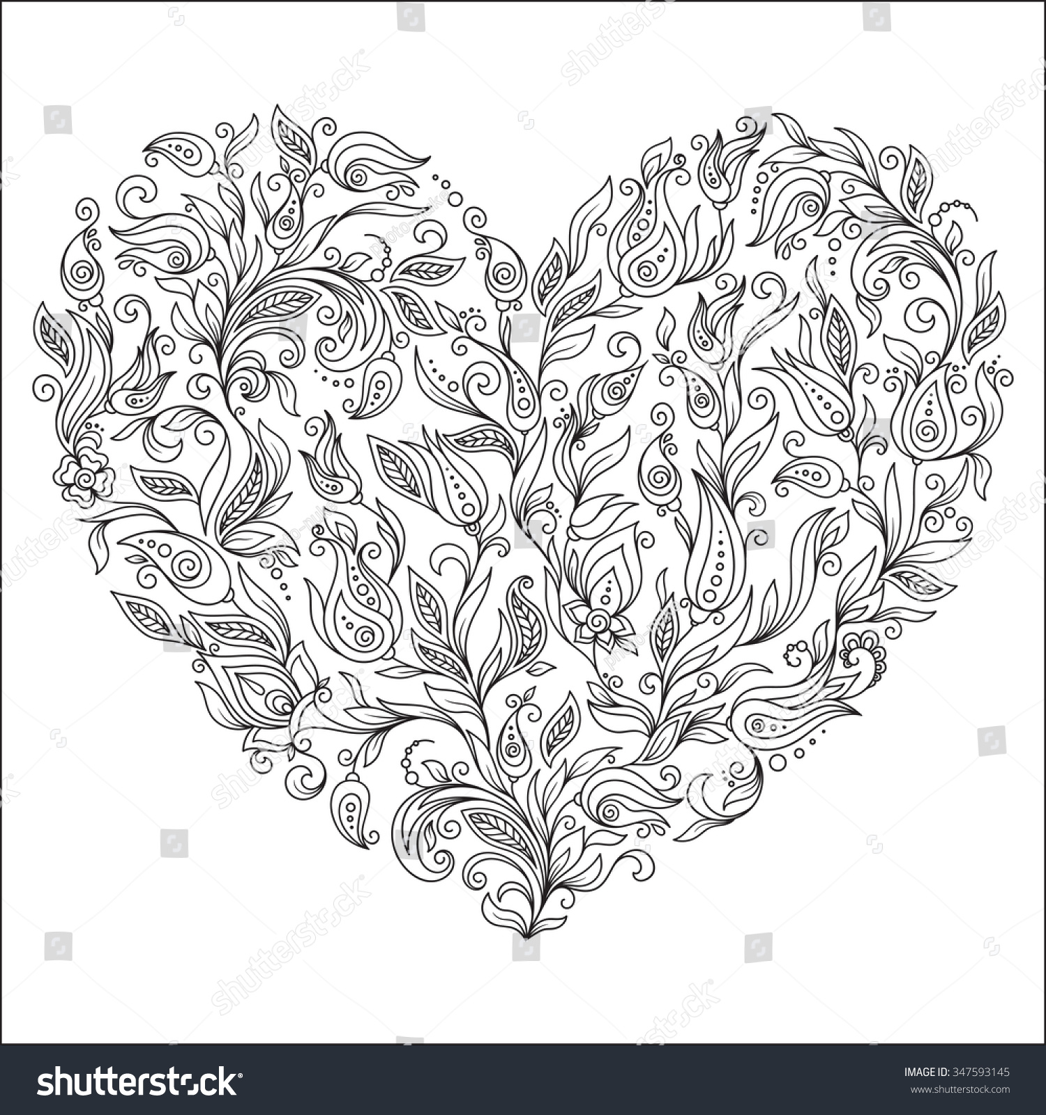 Flower art coloring pages - Coloring Page Flower Heart St Valentine S Day Greeting Card Hand Made Print Digital Art Coloring