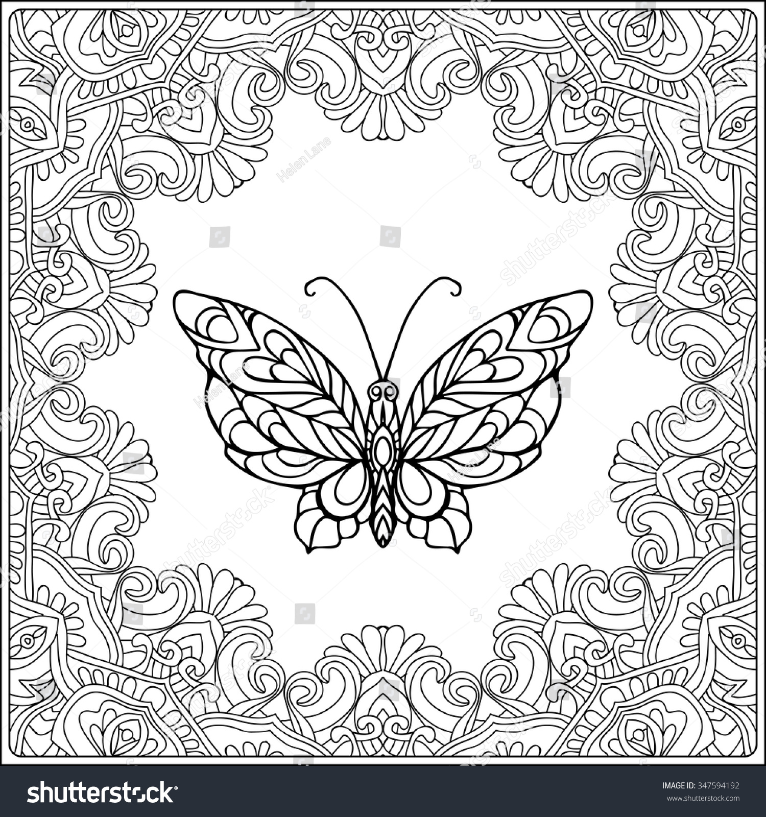 butterfly fecorative frame coloring book stock vector