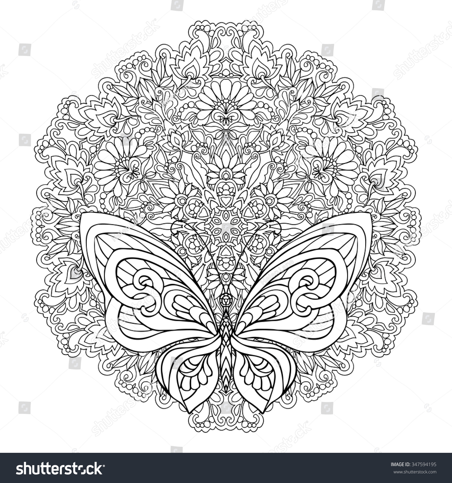 Stock Vektory Na Téma Butterfly Floral Mandala Coloring Book Adult