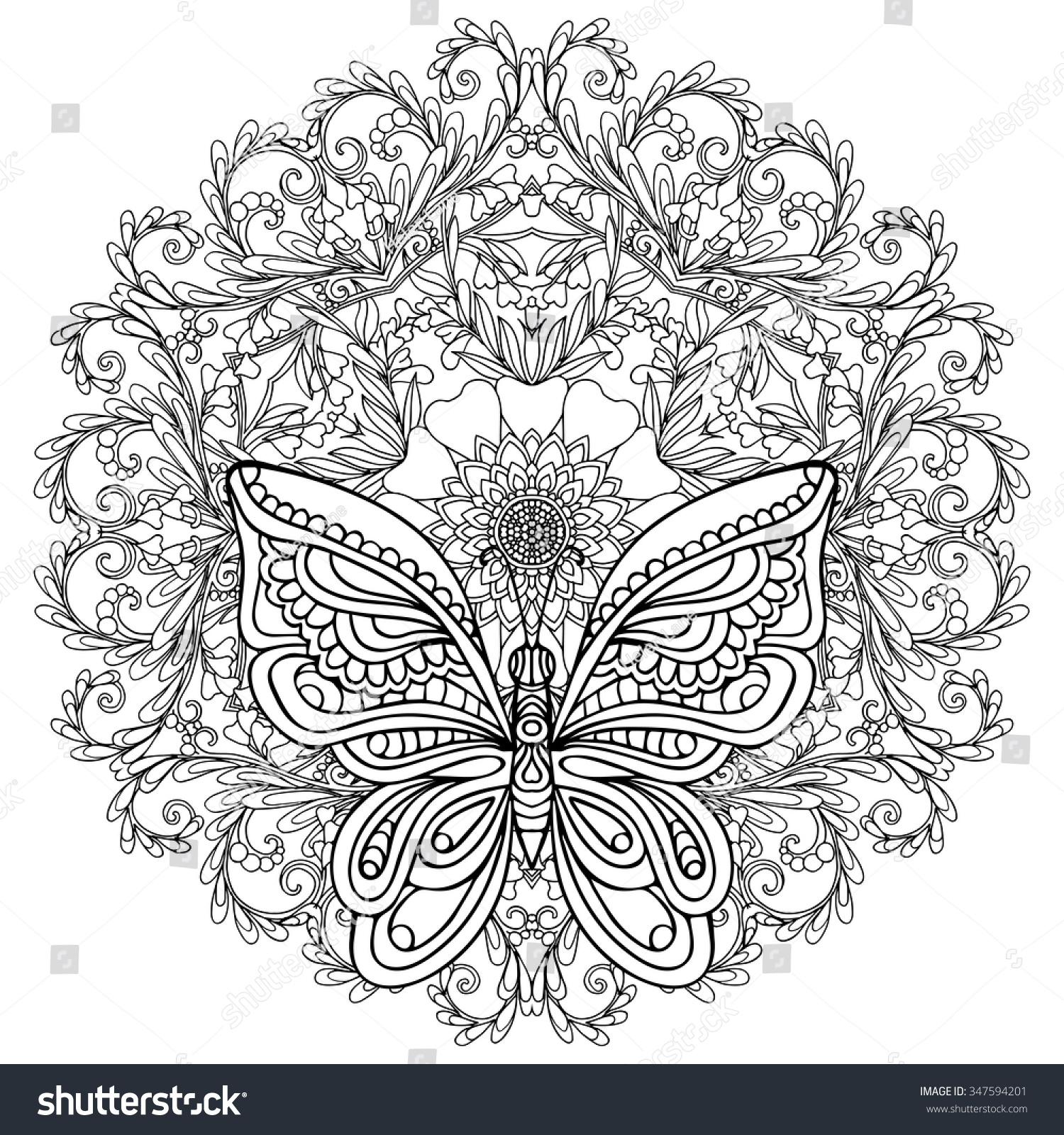 butterfly floral mandala coloring book stock vector
