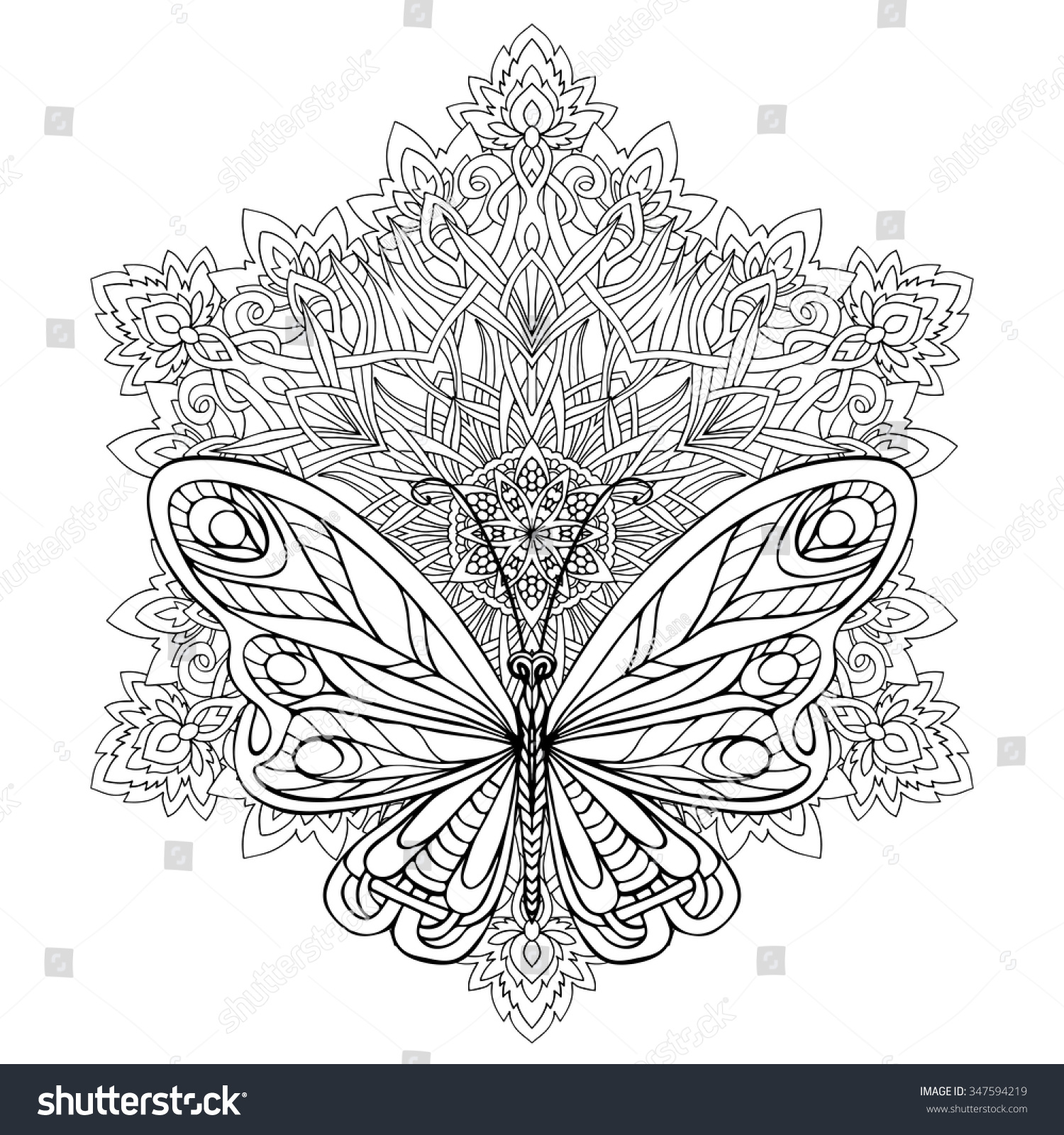 Butterfly Floral Mandala Coloring Book Adult Stock Vector 347594219 ...