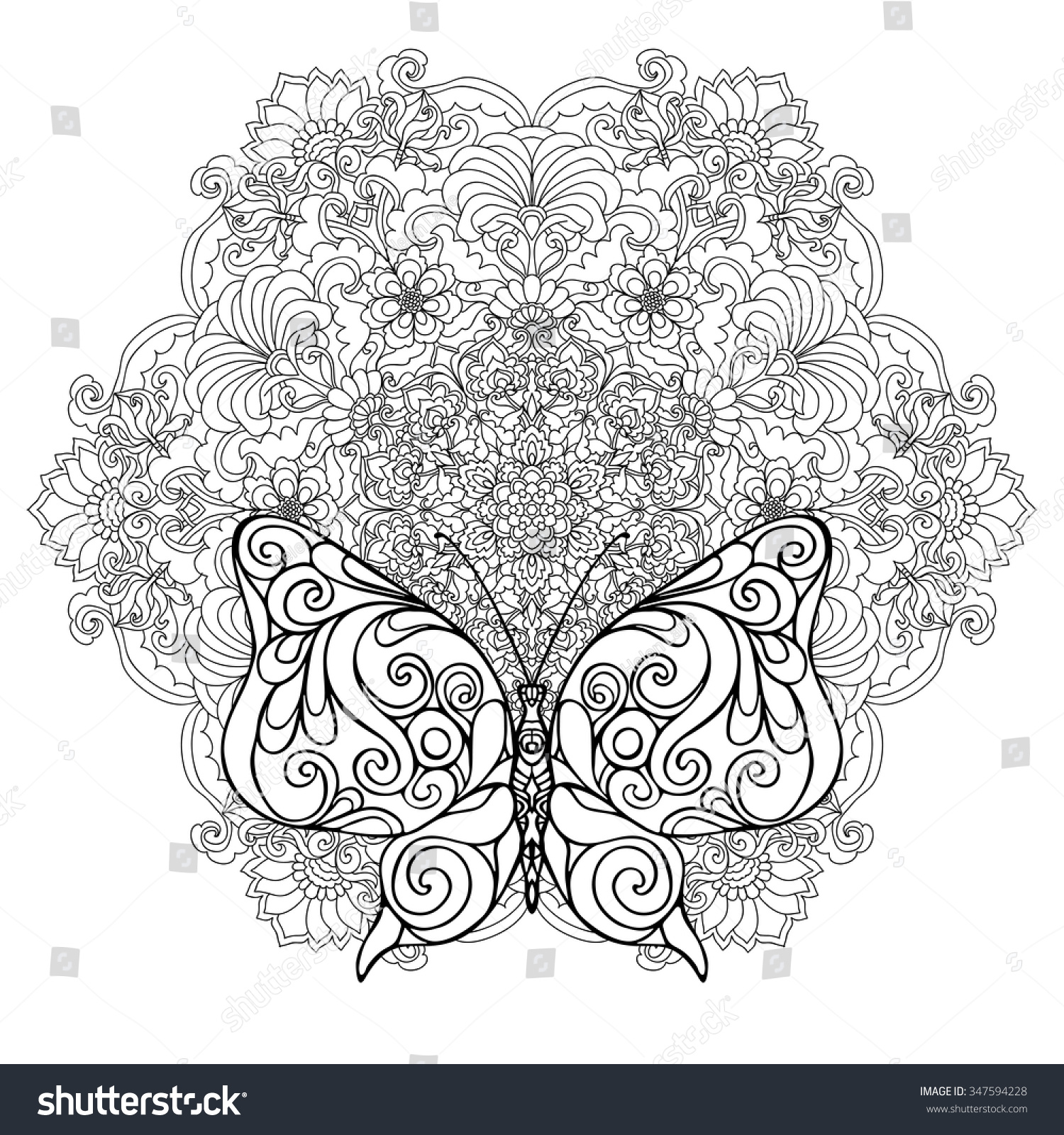 Butterfly Floral Mandala Coloring Book Adult Stock Vector 347594228 ...