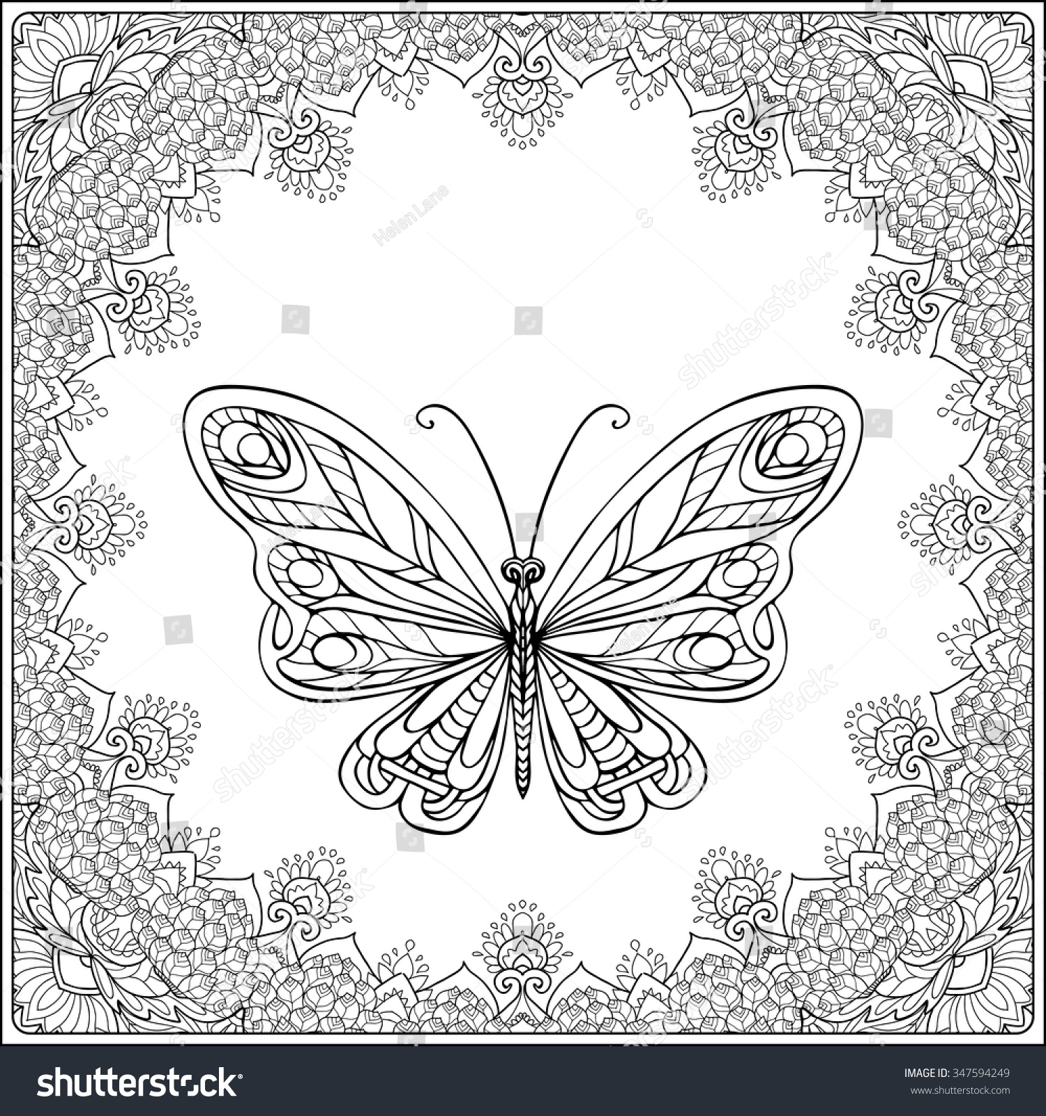 Coloring pages for adults butterflies - Butterfly In Fecorative Frame Coloring Book For Adult And Older Children Coloring Page