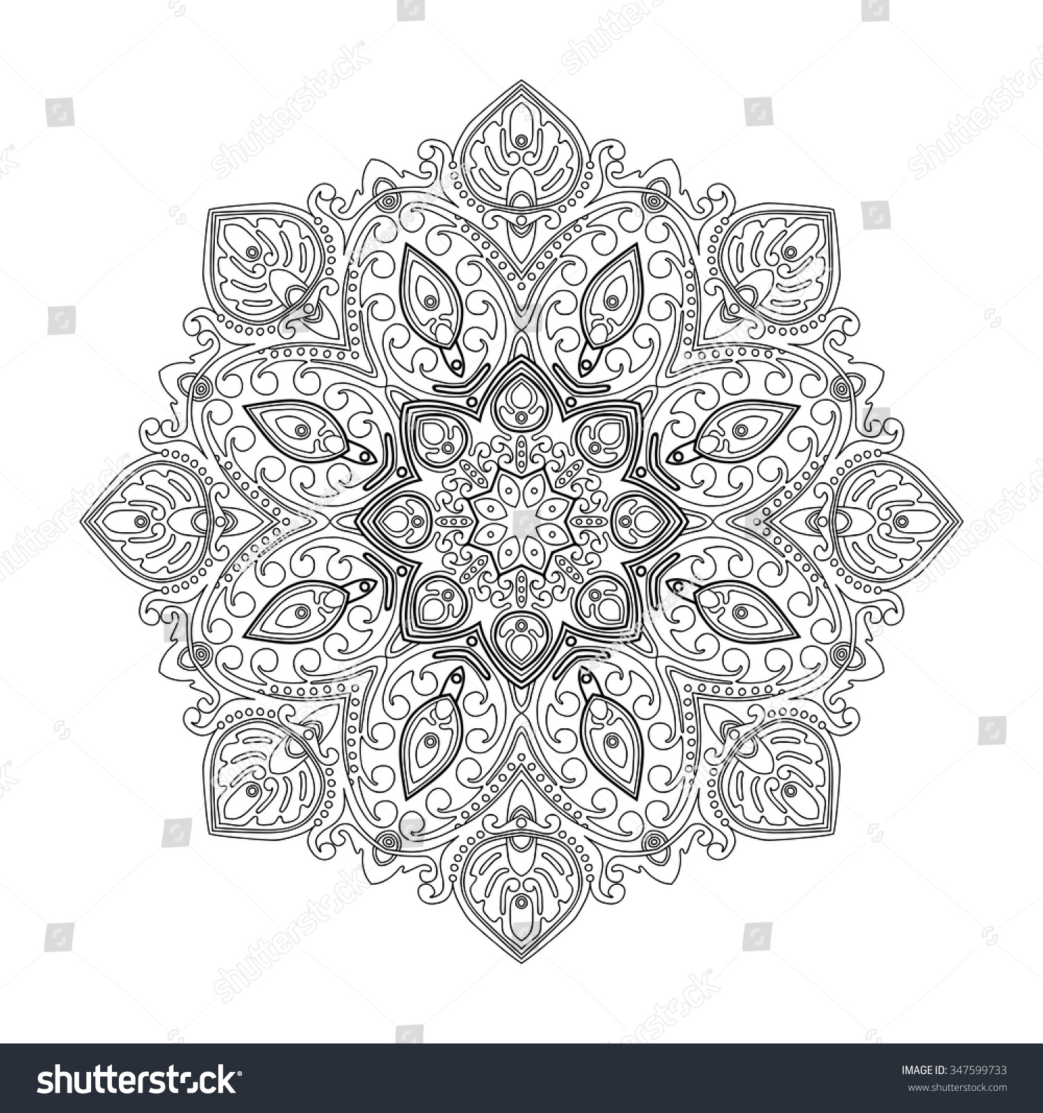 Abstract Circle Coloring Pages : Abstract circle ornament vector graphic design stock