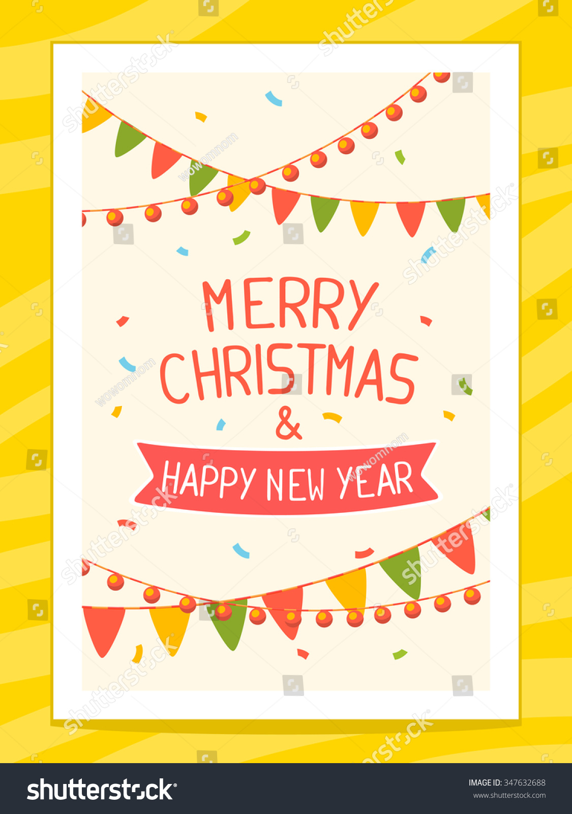 Vector bunting flags lovely celebration card with colorful paper - Vector Illustration Of Christmas Card With Hand Written Text On Light Background With Garlands Bright