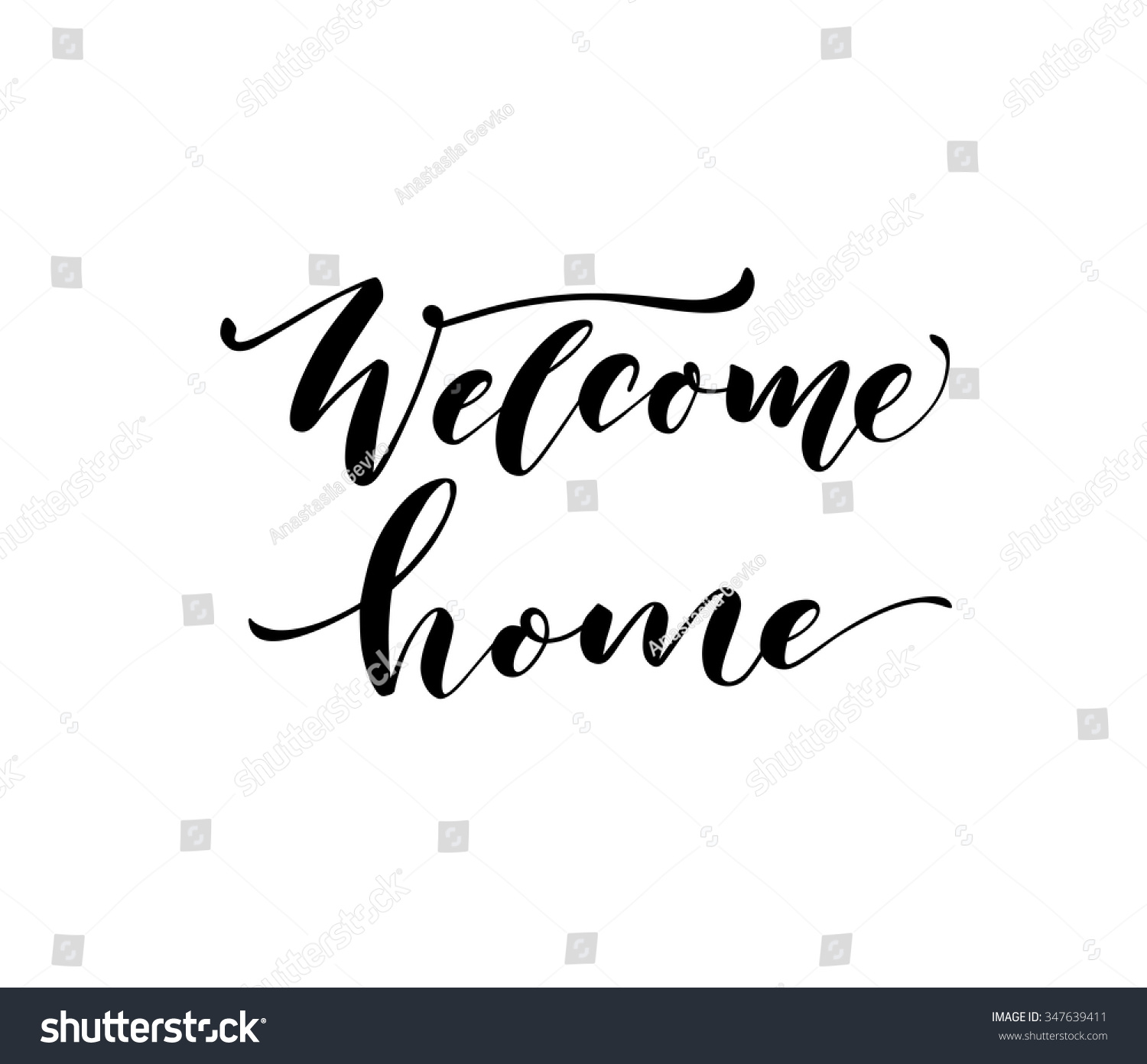 Welcome home card or poster hand drawn lettering modern