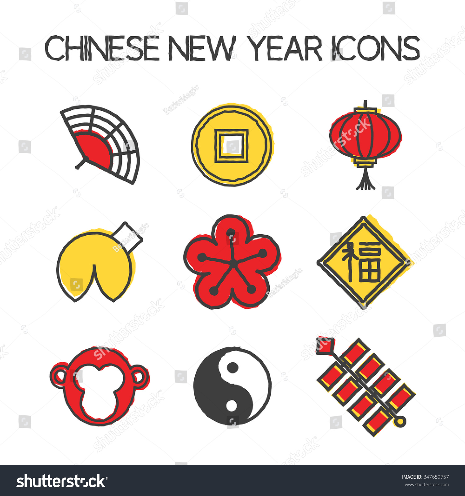 Year Monkey Icons Chinese New Year Stock Vector 2018 347659757