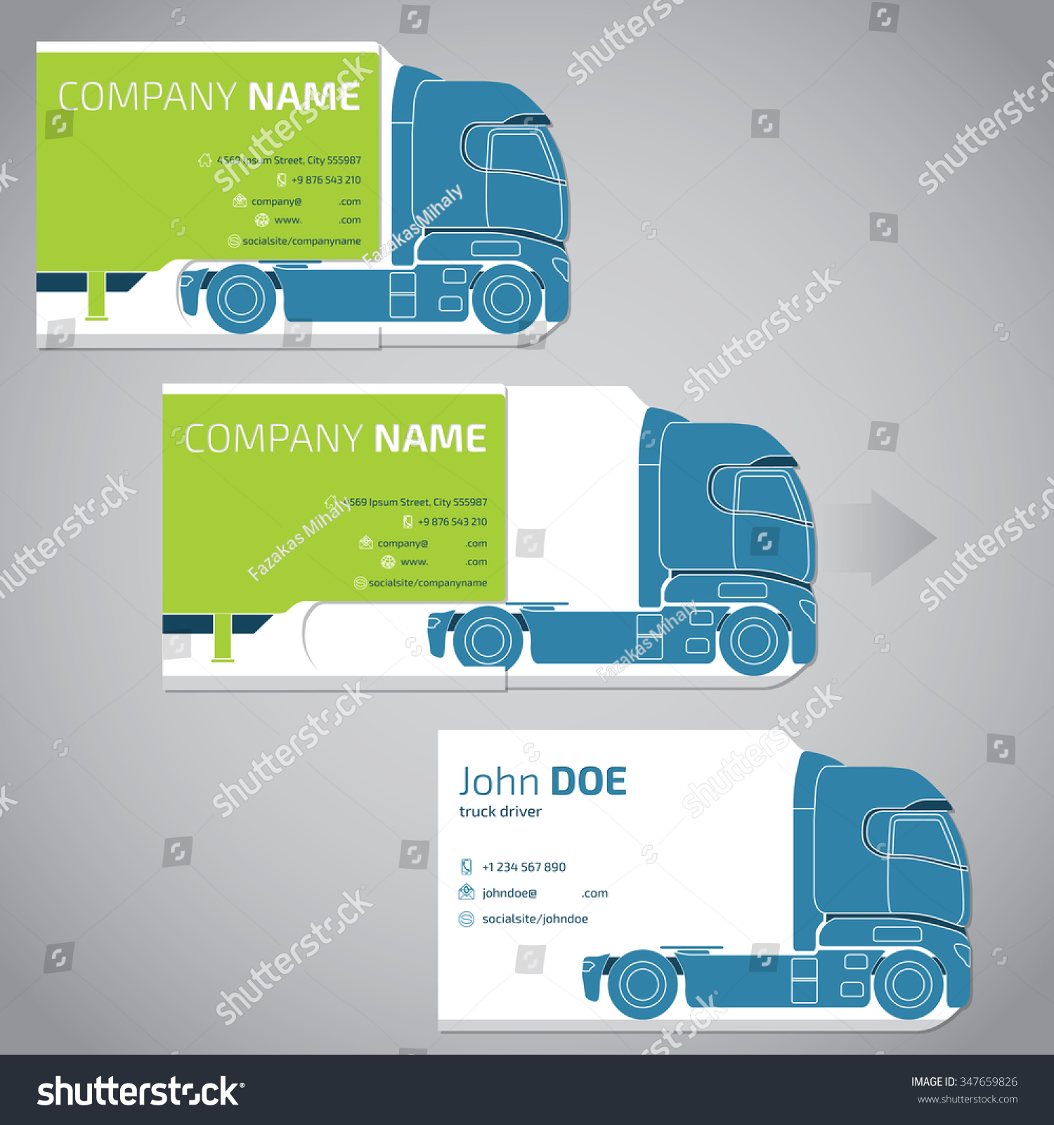Two Piece Business Card Template Design Stock Vector - Business card template design
