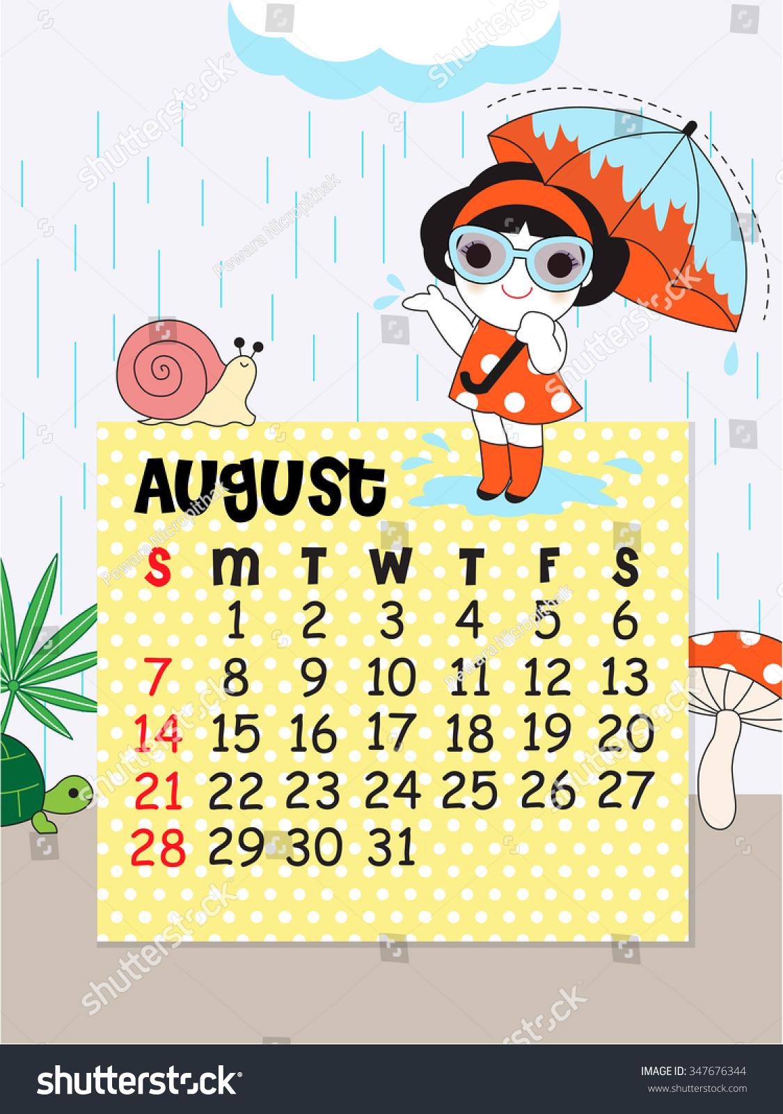 Cute Calendar Illustration : August calendar template cute character illustration