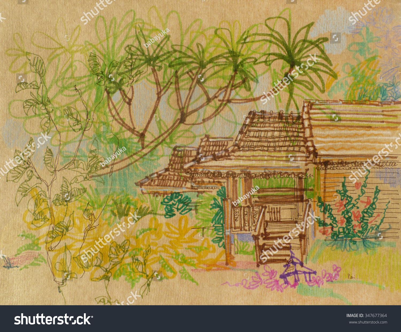 Resort Pai Town Northern Thailand Beautiful Stock Illustration ...