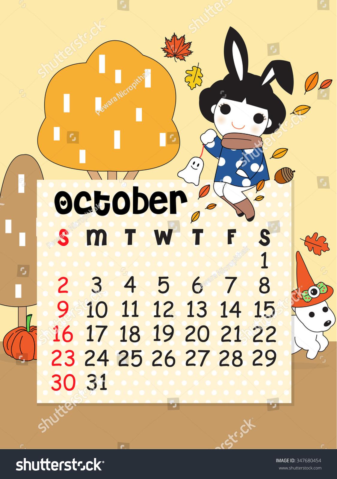 October Calendar Illustration : October calendar template cute character illustration