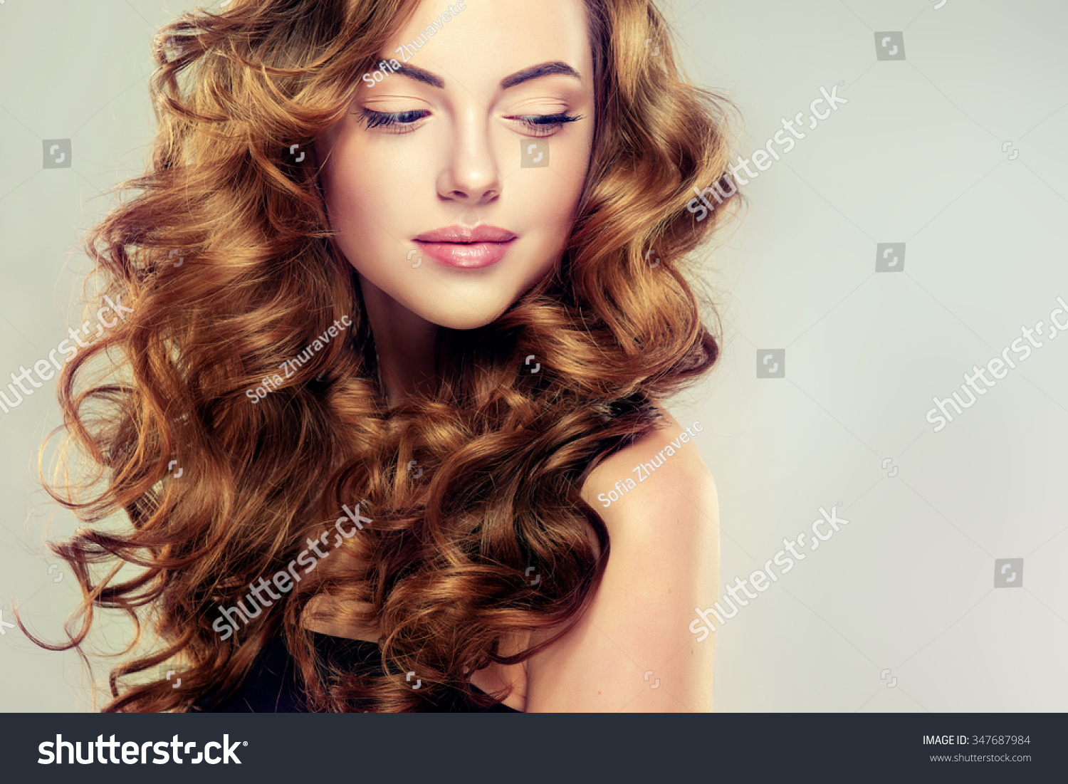 Beautiful Girl Long Wavy Hair Brunette Stock Photo ...