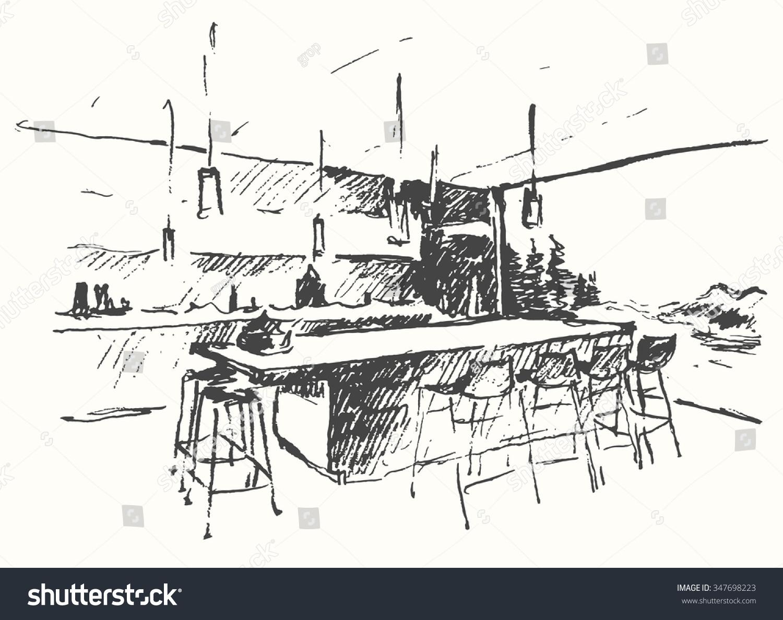 Modern Interior Illustration Cozy Bar Restaurant Stock